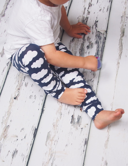 Navy cloud baby and toddler leggings made with Okoe Tex certified materials and available from Newborn up to six years