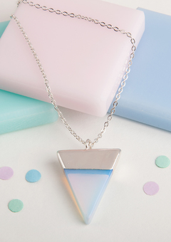 Long silver necklace with triangle pendant
