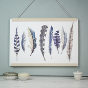 Illustrated blue feather art print