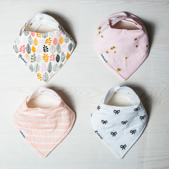 Premium bandana bibs, screen printed exclusive designs.  Organic cotton front, fleece backing.  Larger fit than typical high street models.  Extra absorbent.